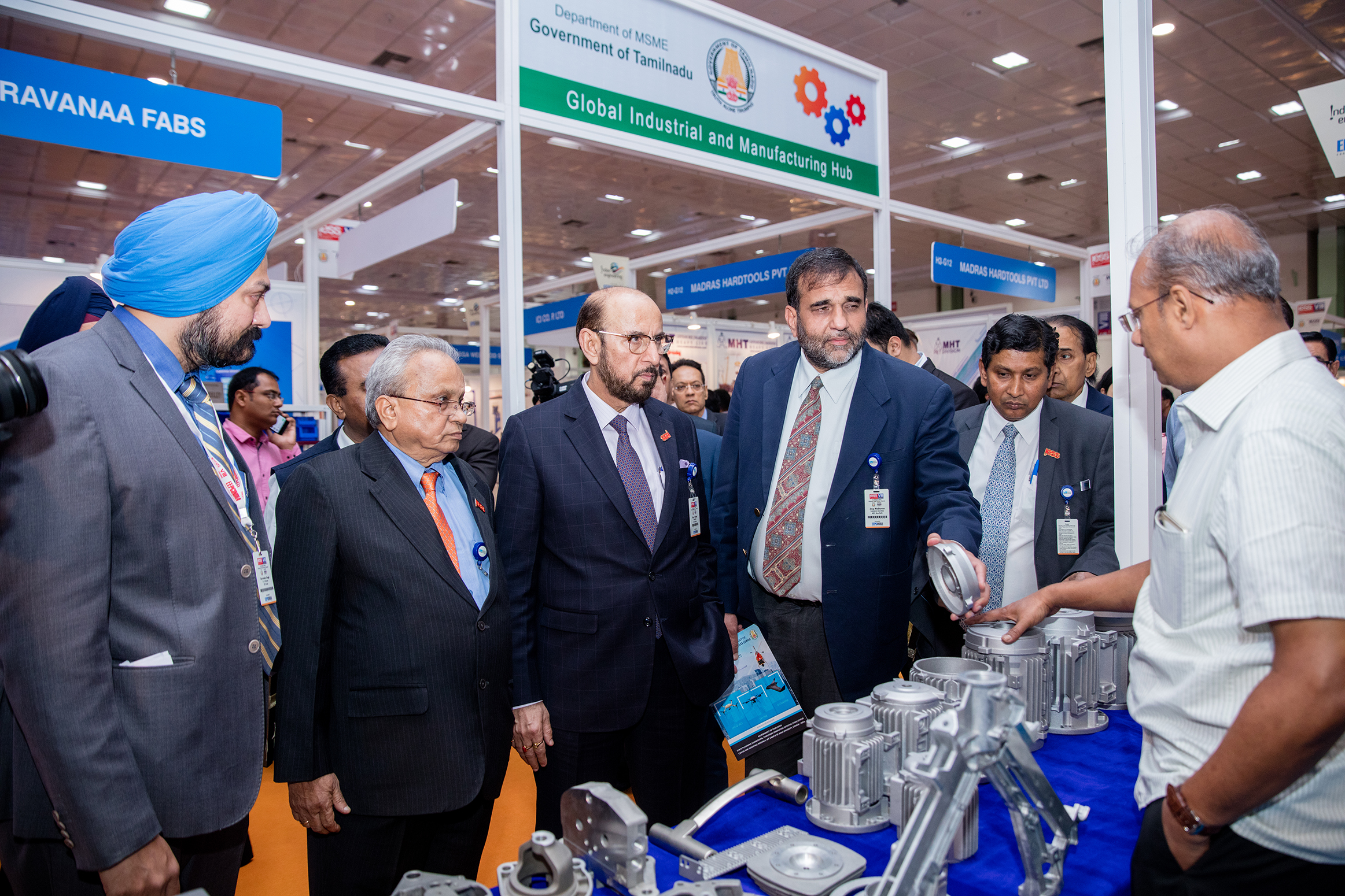 Dr. Anup Wadhawan, Commerce Secretary, Dept of Commerce, Ministry of Commerce & Industry, Govt of India; Mr. Ravi Sehgal, Chairman, EEPC India; Mr. Mahesh K. Desai, Sr. Vice Chairman, EEPC India; Mr. Suranjan Gupta, Executive Director, EEPC India and Mr. Gurvinder Singh, Director (Exhibitions), EEPC India taking a VIP tour of the exhibition. Mr P R Venkatachalam, Working Committee Member, EEPC India and Mr Anoop Marwaha, Dy Regional Chairman (WR), EEPC India also seen.