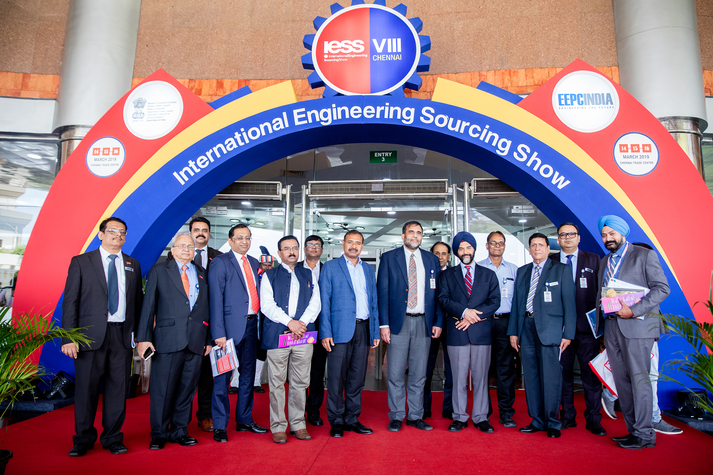 Dignitaries at the Main entrance to IESS VIII 2019 : Dr Anup Wadhawan, Commerce Secretary, Dept of Commerce, Ministry of Commerce and Industry, Govt of India ( front row : 4th from right), (on his left) : Mr B S Bhalla, Joint Secretary, Dept of Commerce, Ministry of Commerce and Industry,Govt of India; (on his right) Mr Dharmendra Pratap Yadav, Secretary, MSME, Govt of Tamil Nadu. Front row (from left) Mr C H Nadiger, Regional Director, (SR), EEPC India; Mr Mahesh K Desai, Sr Vice Chairman & Officiating as Regional Chairman (SR), EEPC India; Mr Anupam Shah, Former Chairman, EEPC India; Dr Rakesh Verma, Spl Secretary Industries, Govt of UP; Mr K L Dhingra, Regional Chairman (WR), EEPC India; Mr Gurvinder Singh, Director (Exhibitions), EEPC India. Second Row (Far left) Mr Rajat Srivastava, Regional Director (WR) and Director (Marketing & Sales), EEPC India and (far right) Mr Rakesh Suraj, Regional Director (NR), EEPC India