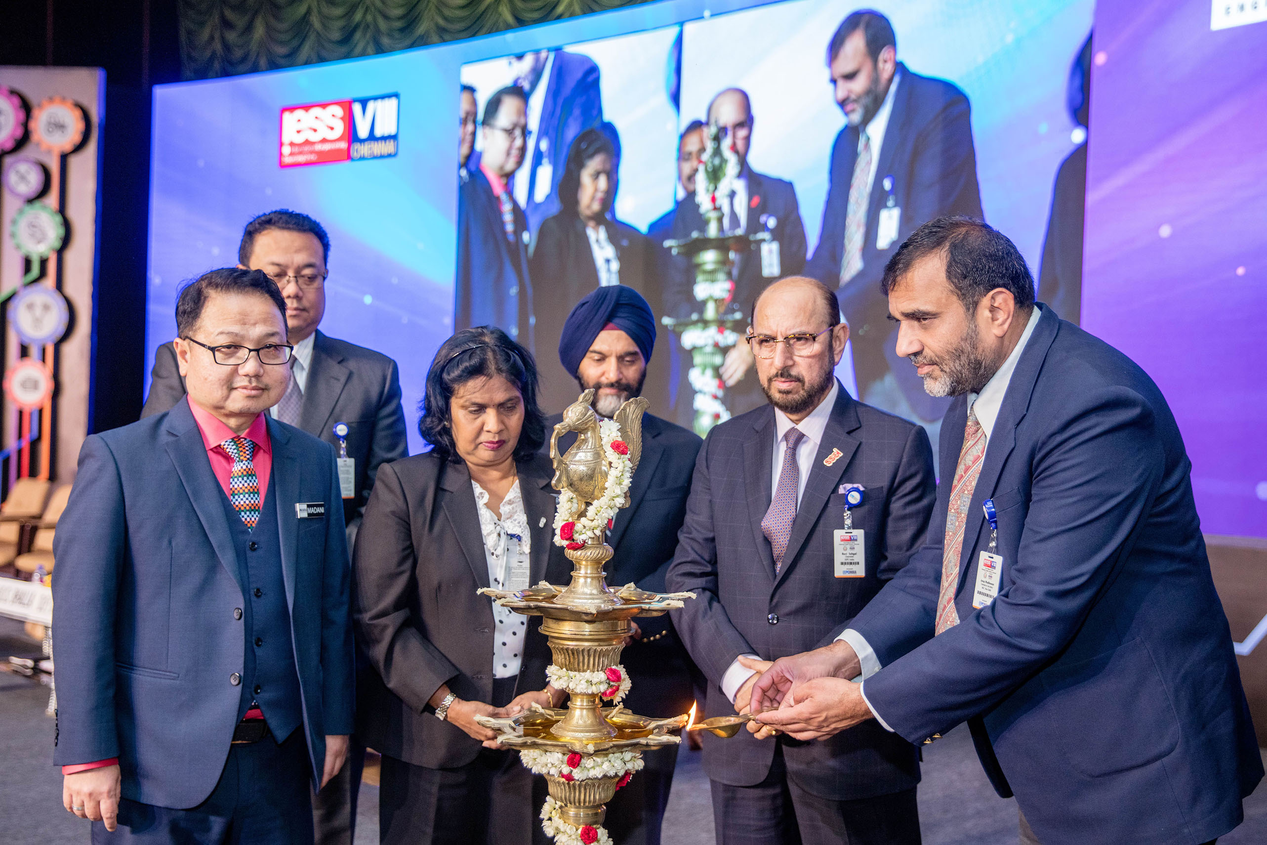 Lighting the Lamp by Dr. Anup Wadhawan, Commerce Secretary, Dept of Commerce, Ministry of Commerce and Industry, Govt of India; (on his right)  Mr. Ravi Sehgal, Chairman, EEPC India, Mr. B. S. Bhalla, Joint Secretary, Dept of Commerce, Ministry of Commerce and Industry; Datuk K. Talagavathi, Deputy Secretary General, Ministry of International Trade & Industry, Govt. of Malaysia and Dato� Madani Sahari, CEO, Malaysia Automotive Robotics & IoT Institute (MARii) and H.E. Dato Hidayat Abdul Hamid, High Commissioner of Malaysia present at this Ceremony.